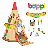 Childrens Kids Canvas Effect Teepee Play Tent with 6 Dress Up Costume Accessories Wigwam Cowboy Indian Outdoor Indoor With Accessories by Boppi