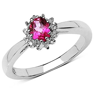 The Pink Topaz Ring Collection: Beautiful Sterling Silver Oval Pink Topaz & Diamond Cluster Engagement Ring