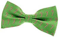 "Green Christmas Woven Pre-tied Bow Tie with Christmas Candy Canes Pattern (5"")"