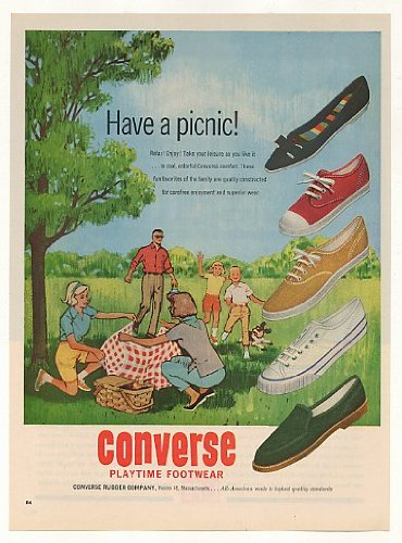 1962 Converse Playtime Footwear Shoes Family Picnic Print Ad