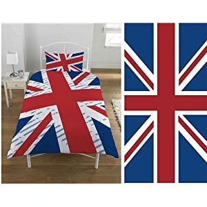 parure housse de couette linge de maison drap de bain union jack drapeau anglais londres lit 1. Black Bedroom Furniture Sets. Home Design Ideas