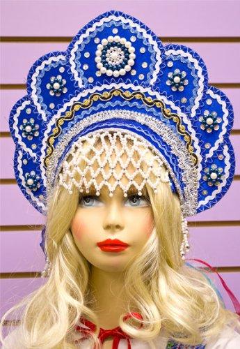 Russian Folk Costume 'Kokoshnik' Headdress in Blue