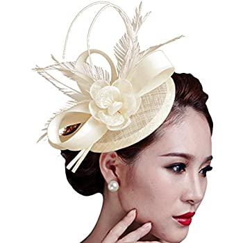 Cocktail Pillbox Hat Fascinator Hair Clip Bridal Headwear for Women