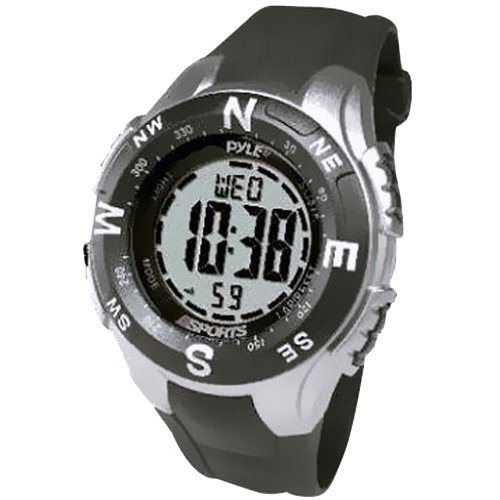 Pyle Sports PSWTM34BK Track Watch with Digital Compass, Chronograph, Pacer, Countdown Timer (Black)