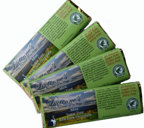 Lucienne's Mint Sugar Free Chocolate, 4 - 2 Oz. Bars, Sweetened with Stevia. The Finest Quality Ecuadorian Chocolate. All Natural Ingredients. 83% Cocoa Chocolate, Flavored with Natural Peppermint Oil.