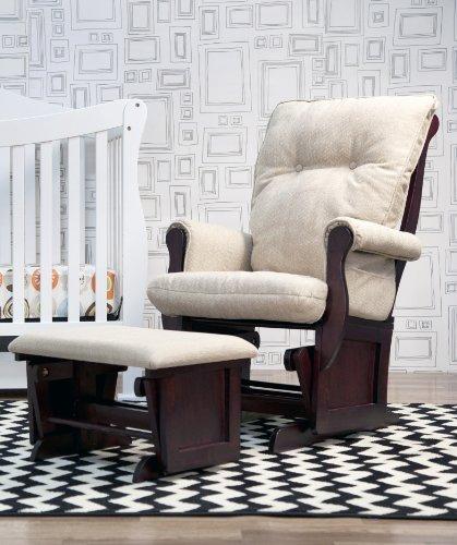 Buy DaVinci Classic Sleigh Glider and Ottoman, Beige/Espresso Legs