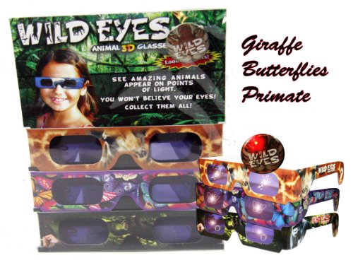 Wild Eyes Animal 3D Glasses - for Holiday Zoo Lights - Transform Lights Into Magical Animals - Butterfly, Giraffe, Primate - Visit The Zoo