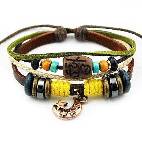 Real Spark Unisex Adjustable Multilayer Colorful Cord Wood Beads Alloy Strand Oracle Charms Moon Pendant Leather Bracelet (Gold Charm Brackets compare prices)
