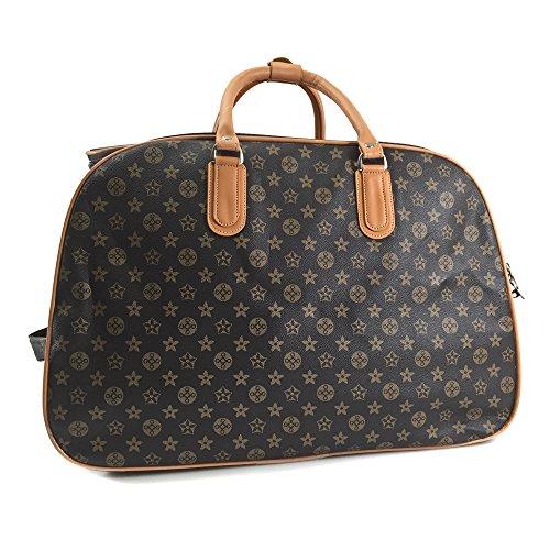 women-ladies-travel-bag-holdall-luggage-weekend-holidays-handbag-wheeled-trolley-new-tan