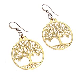 Small Tree of Life Gold Dipped Earrings on French Hooks