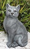 Steinfigur Katze groß Steinguss Schiefergrau