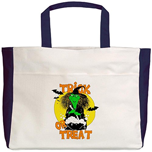 Royal Lion Beach Tote (2-Sided) Halloween Trick or Treat Witch