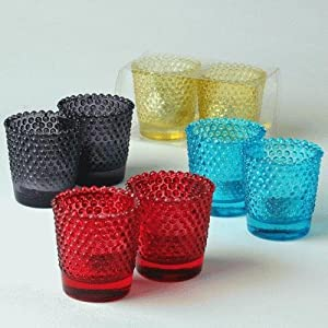 6 Light Blue Hobnail Votive Holders