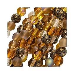 "Czech Glass Druk Round 4mm ""Wheatberry"" Brown Mix (100 Beads)"
