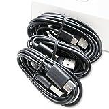 Three (3) Motorola Droid Z / Z Force / Play / Google Pixel / Pixel XL LG G5 USB-C Data Charging Cables Nexus 6P - Black 3, 5, 10 Foot