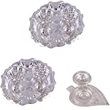 GS MUSEUM Silver Plated Rani Kumkum Plate 2 Sets And Silver Plated Leaf Sinduer Dibby