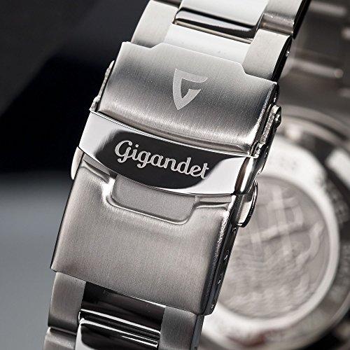 Gigandet Automatik Herren-Armbanduhr Sea Ground Vintage Taucheruhr Uhr Datum Analog Edelstahlarmband Schwarz Silber G2-007 7