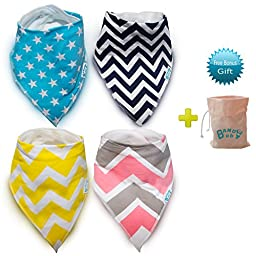 Premium Personalized Bandana Baby Bibs - Burp Cloths/Soft Cotton Absorbent 4Pack