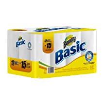 Bounty Basic Paper Towels 12 Large Rolls (Pack of 2)