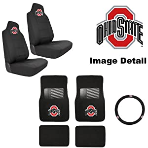 7pc osu ohio state university buckeyes car truck suv front rear seat carpet floor. Black Bedroom Furniture Sets. Home Design Ideas
