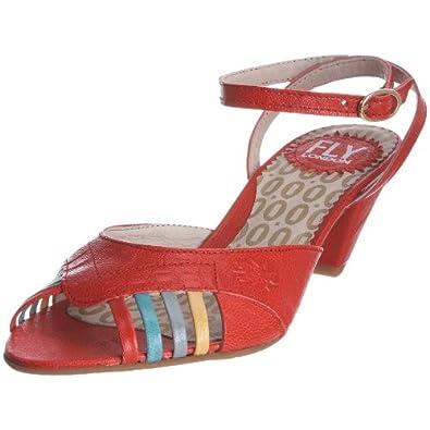 Fly London Women's Picasso Red/Aquamarine/Palegreen/Yellow Ankle Strap Heel P141889007 7 UK