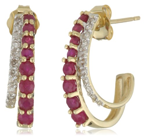 14k Gold, Gemstone, and Diamond J-Hoop Earrings