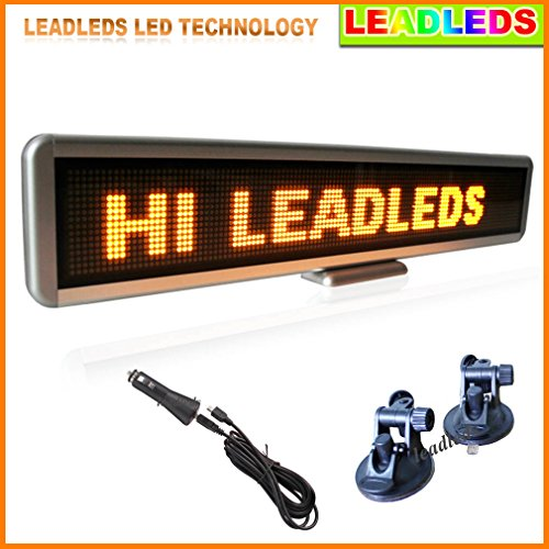 Leadleds 22X4.3 Inches Amber Rechargeable Usb Programmable Scrolling Led Sign For Car With 12V Car Cigar Lighter