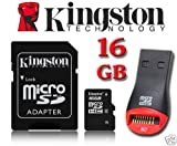 Kingston 16GB Micro SD Micro SDHC Memory Card With SD Adapter For Tesco Hudl, Hudl 2 Tablet, Sony Xperia Tablet Z Wi-Fi Tablet, HP Hewlett Packard Slate 7 Tablet, Archos 101 Tablet, Motorola XOOM MZ604 Tablet, Prestigio MultiPad PMP5080B Tablet, Medion L