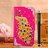 Locaa(TM) SONY M35h SONY Xperia SP M35H C5303 3D Bling Peacock Case + Phone stylus + Anti-dust ear plug Deluxe Luxury Crystal Pearl Diamond Rhinestone eye-catching Beautiful Leather Retro Support bumper Cover Card Holder Wallet Cases [Peacock Series] Pin