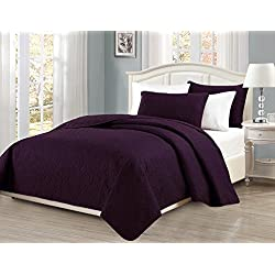 "Mk Collection Full/Queen Size over size 100""x106"" 3 pc Diamond Bedspread Bed-cover Embossed solid dark Purple New"