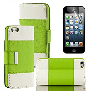 iPhone 5C case, Moreyoulike Wallet PU Leather Case Stand Magnetic Closure with Credit ID Card Slot Holder Cover Pouch with Free Screen Protector (Wallet_Green)