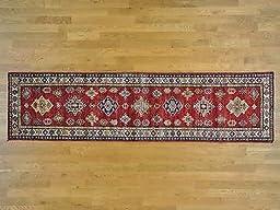 2\'8x10\'5 Red Runner Geometric Design Hand Knotted Super Kazak Oriental Rug G25730
