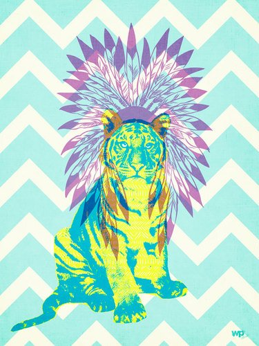 Wheatpaste Art Collective Ceremonial Tiger Electric By Wp House Posters That Stick Wall Decal, 18 By 24-Inch