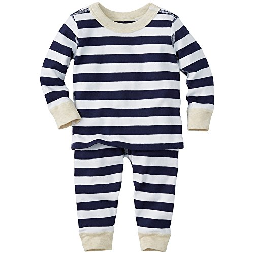 Hanna Andersson Baby Long John Pajamas In Organic Cotton, Size 75 (9-18 Months), Navy/White/Oatmeal
