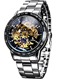 Alienwork IK mechanische Automatik Armbanduhr Skelett silber 98226-11