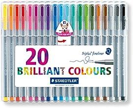 Staedtler Triplus Fineliner 334 SB20 Tips Desktop Box - Assorted Colours (Pack of 20)