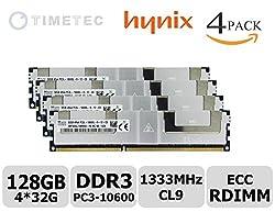 Timetec SK Hynix P N HMT84GL7MMR4A-H9MC 128GB Kit 4*32GB 1333MHz DDR3L PC3L-10600 ECC Registered 1.35V 240-Pin CL9 Quad Rank 4Rx4 1024x4 SDRAM DIMM LRDIMM Reg Quad Rank In-Line Server Memory