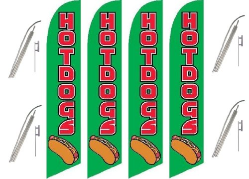 Four Full Sleeve Swooper Flags w/ Poles & Spikes HOT DOGS Green Red w Hot Dog Pic (Pics Of Dogs W compare prices)