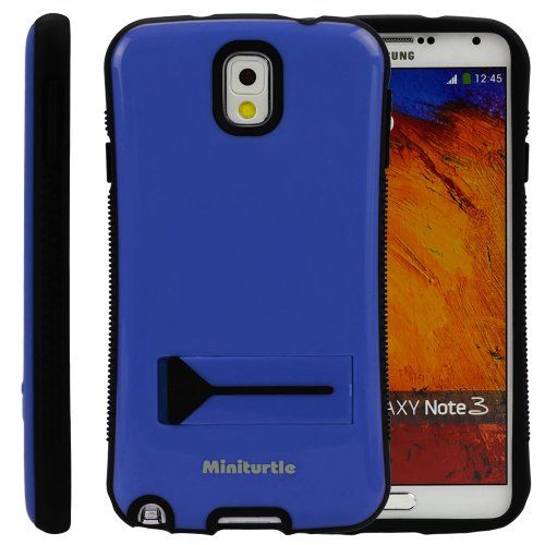 Miniturtle, Grip Armor Series Hard Phone Case Cover Bumper - Gloss Finish - With Built In Kickstand And Clear Lcd Screen Protector Film For Samsung Galaxy Note Iii (Ocean Blue / Black)