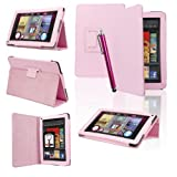SAVFY� Kindle Fire PU Leather Case Cover Multi-Function Flip Stand Wallet Book (NOT FOR HD), Bonus: Capacitive Stylus Pen + Screen Protector for Amazon Kindle Fire 7 inch LCD Display Wi-Fi 8GB Android Tablet - 2011 Model, NOT for HD (Light Pink)by SAVFY