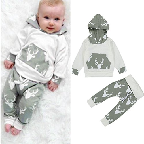 AMA(TM) Toddler Baby Girl Boy Deer Hooded Tops +Pants Outfits Clothes Set (18M, Grey 1)