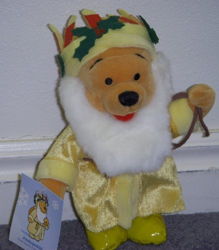 "Disney Winnie the Pooh Finland Joulupukki 8"" Plush Bean Bag Santa Doll - 1"