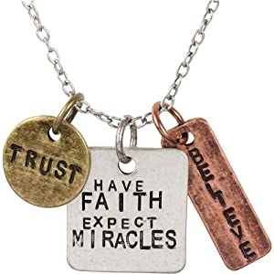 Have Faith Expect Miracles Tricolor Stamped Affirmation Charm Necklace