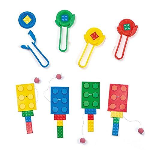 24-pc-Color-Brick-Party-Favors-Paddleball-and-Disc-Shooters-Lot