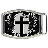 Grunge Cross and Wings Kids Belt Buckle