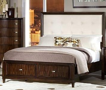 Abramo Queen Black Bonded Leather Storage Platform Bed