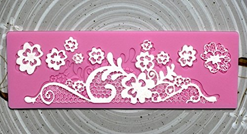 Allforhome Silicone Flower Embossing Lace Fondant Mould Cake Decoration Mould Polymer Clay Resin Molds