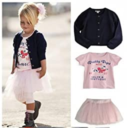 Salon Couture Little Girls Cardigan Pettiskirt and Tee Set Coming Soon XXL fits 4-5 YR