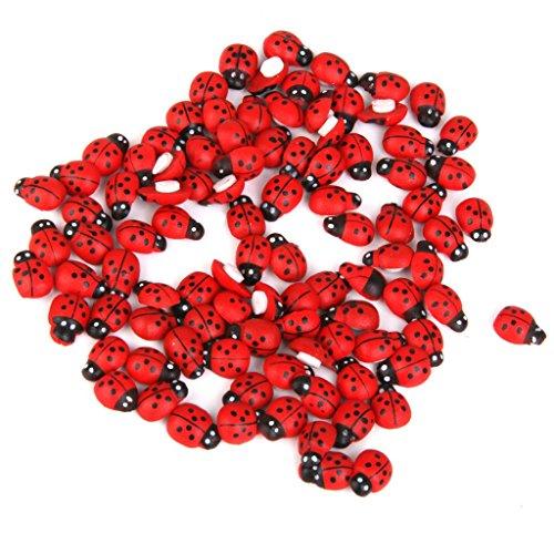 100x Coccinelle Legno Decorativo Per Bonsai Micro Paesaggio Miniatura Casa Delle Bambole - Rosso