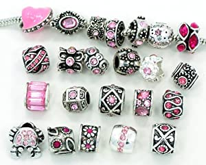 Ten (10) of Assorted Pink Crystal Rhinestone Beads (Styles You Will Receive Are Shown in Picture Random 10 Beads Mix) Charms Spacers for Bracelets Fits Pandora, Biagi, Troll, Chamilla and Many Others
